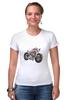 "Футболка Стрэйч (Женская) ""Мотоцикл"" - мотоцикл, bike"