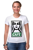 "Футболка Стрэйч (Женская) ""Starbucks (Obey)"" - кофе, coffee, starbucks, старбакс, cafe"