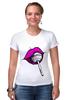 """Футболка Стрэйч (Женская) """"pink lips"""" - арт, губы, pink, розовый, чупа-чупс, lips, леденец, lolipop"""