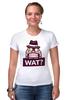 """Футболка Стрэйч (Женская) """"WAT?              """" - вопрос, шляпа"""