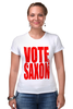 "Футболка Стрэйч ""Vote Saxon (Doctor Who)"" - doctor who, доктор кто, vote saxon"