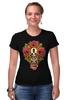 """Футболка Стрэйч (Женская) """"Horror Art """" - skull, череп, арт, гроб, розы, roses, coffin"""