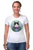 """Футболка Стрэйч (Женская) """"Кот в костюме"""" - кот, смешные, прикольные, cat, well dressed animal, suit, кот в одежде, зоопортрет, галстук-бабочка"""
