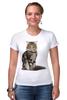 """Футболка Стрэйч (Женская) """"Милый пушистый кот     """" - кот, кошка, котэ, алина макарова, мэйн кун"""