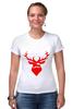 "Футболка Стрэйч (Женская) ""Ho Ho Ho..."" - christmas, deer, reindeer"