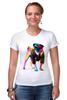 """Футболка Стрэйч (Женская) """"Мопс-космос"""" - радуга, dog, pug, космос, собака, цветная, мопс, suit"""