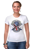 "Футболка Стрэйч ""Skull Art"" - skull, череп, usa, американский флаг, american flag"