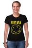 "Футболка Стрэйч (Женская) ""Nirvana (Нирвана)"" - grunge, гранж, nirvana, нирвана"