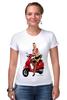 """Футболка Стрэйч (Женская) """"Девушка на мотоцикле"""" - девушка, эротика, блондинка, мотоцикл"""