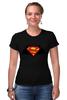 "Футболка Стрэйч (Женская) ""Superman x Batman"" - супермен, batman, superman, бэтман"