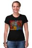 """Футболка Стрэйч (Женская) """"Basquiat"""" - черепа, граффити, корона, basquiat, баския"""