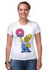 """Футболка Стрэйч (Женская) """"Гомер с Пончиком"""" - симпсон, гомер, пончик, the simpsons, donut"""