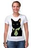 """Футболка Стрэйч (Женская) """"Деловой кот"""" - кот, мем, cat, mem, black cat, деловой кот, business cat, suit n tie"""