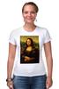 """Футболка Стрэйч (Женская) """"Мона Лиза (Mona Lisa)"""" - мона лиза, джоконда, mona lisa, полигоны, polygons"""