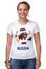"Футболка Стрэйч (Женская) ""Россия (Russia)"" - патриот, россия, russia, раша"