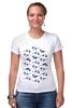 """Футболка Стрэйч (Женская) """"Птичий принт"""" - узор, птицы, орнамент, indie"""