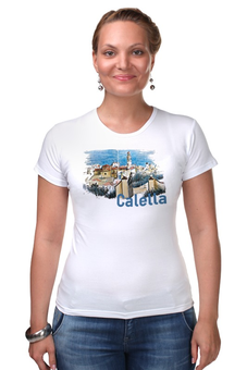 """Футболка Стрэйч """"Calella"""" - рисунок, город, иллюстрация, скетч, испания"""