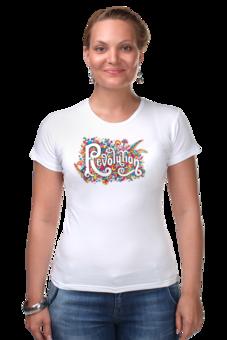 """Футболка Стрэйч """"revolution"""" - футболка, женская, в подарок, оригинально, девушке, футболка женская, креативно"""