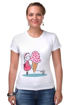 """Футболка Стрэйч """"Девочка с мороженным"""" - бабочки, собака, девочка, мороженое, коса"""