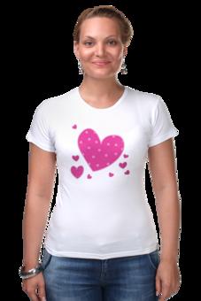 """Футболка Стрэйч (Женская) """"""""LOVE"""""""" - праздник, сердце, любовь, розовое, девушке, девочке, сердечки"""