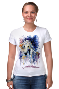 """Футболка Стрэйч (Женская) """"Год лошади (с надписью)                        """" - арт, новый год, год лошади, символ 2014"""