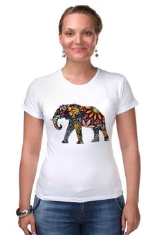 """Футболка Стрэйч (Женская) """"Волшебный слон"""" - цветы, слон, яркая, путешествия"""