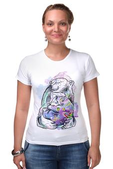 """Футболка Стрэйч (Женская) """"Белый медведь"""" - медведь, космос"""