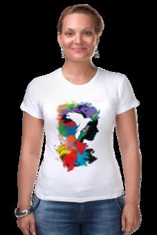 """Футболка Стрэйч (Женская) """"Облики"""" - девушка, животные, птица, краски, футболка женская"""