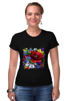 """Футболка Стрэйч """"Цветы"""" - цветы"""