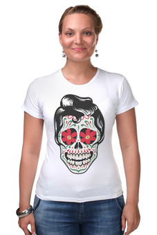 """Футболка Стрэйч """"Мексиканец"""" - череп, цветы, орнамент, парные, día de muertos"""