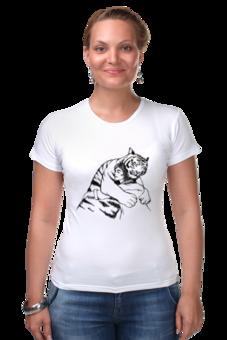 """Футболка Стрэйч """"Tiger hugs"""" - любовь, прикольно, приколы, смешное, авторские майки, футболка, животные, стиль, популярные, рисунок"""