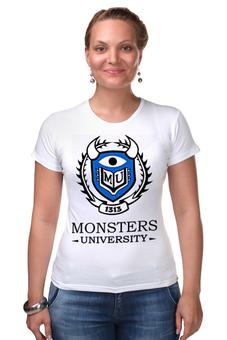 """Футболка Стрэйч """"Monsters University"""" - мультфильм, кино, cinema, университет монстров, monsters university"""