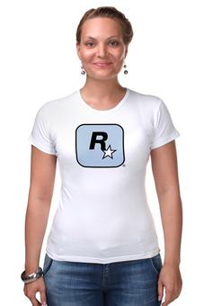 """Футболка Стрэйч (Женская) """"Rockstar Light-Blue"""" - женская, grand theft auto, gta, rockstar, гта, rockstar games, video games, майки из игр"""
