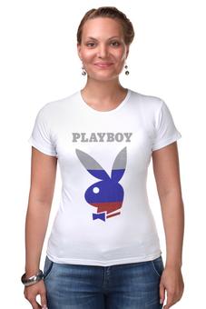"""Футболка Стрэйч """"Playboy Россия"""" - playboy, россия, плейбой, зайчик, плэйбой"""