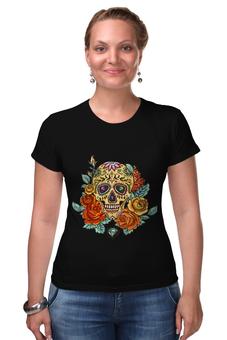 """Футболка Стрэйч """"Череп"""" - череп, цветы, skull"""