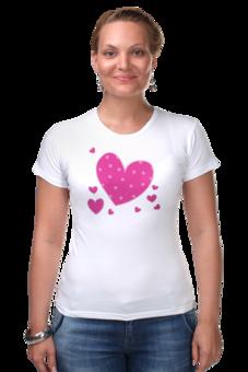 """Футболка Стрэйч (Женская) """"""""LOVE"""""""" - футболка, день святого валентина, сердечки, 14февраля"""