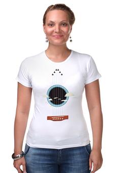 "Футболка Стрэйч ""Sky-Guitar"" - музыка, гитара, небо, струны, бард"