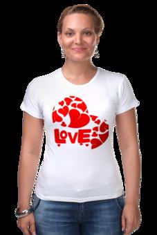 "Футболка Стрэйч (Женская) ""love"" - сердце, сердечко, love is"