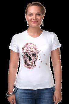"""Футболка Стрэйч (Женская) """"Цветочный Череп"""" - skull, для девушек, цветы, черепа"""