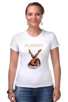 "Футболка Стрэйч ""Playboy Девушка"" - девушка, playboy, плейбой, плэйбой"