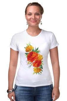 """Футболка Стрэйч (Женская) """"""""Flowers"""""""" - цветы, футолка, креатив, красивые, цветное"""