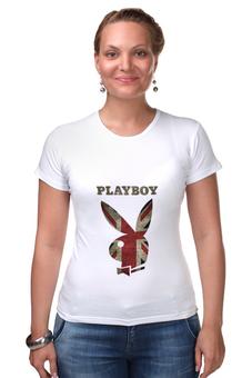 """Футболка Стрэйч (Женская) """"Playboy Британский флаг"""" - playboy, плейбой, зайчик, великобритания, плэйбой"""