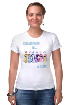 "Футболка Стрэйч (Женская) ""Friendship is Magic"" - rainbow dash, my little pony, friendship is magic, fluttershy, pinkie pie"