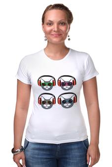 "Футболка Стрэйч ""коты меломаны"" - музыка, кот, наушники, меломан, солнцезащитные очки"