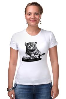 "Футболка Стрэйч (Женская) ""Лемур с синтезатором"" - музыка, lemur, лемур, клавишник"