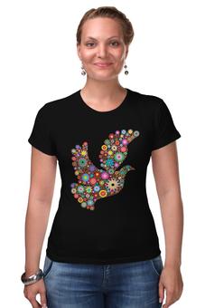 """Футболка Стрэйч """"Птица счастья"""" - птица, яркий цвет, разноцветный рисунок"""