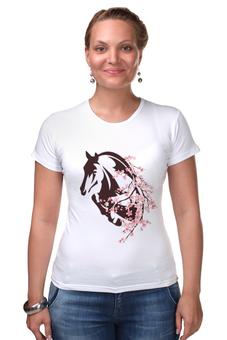 """Футболка Стрэйч """"Лошадь"""" - лошадь, цветы"""