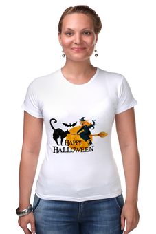 "Футболка Стрэйч ""Хэллоуин"" - хэллоуин, ведьма, кошка"
