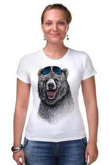 """Футболка Стрэйч """"Позитивный медведь"""" - bear, медведь, animal, солнечные очки, арт дизайн"""
