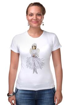 """Футболка Стрэйч """"Снежный ангел """" - новый год, рисунок, ангел, крылья, зима"""